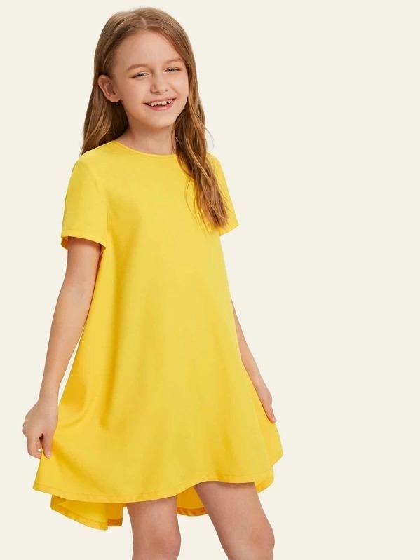 Girls Keyhole Back Solid Trapeze Dress