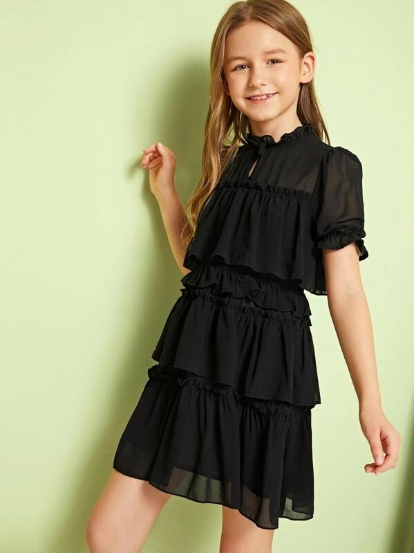 Girls Keyhole Neck Ruffle Layered Hem Dress