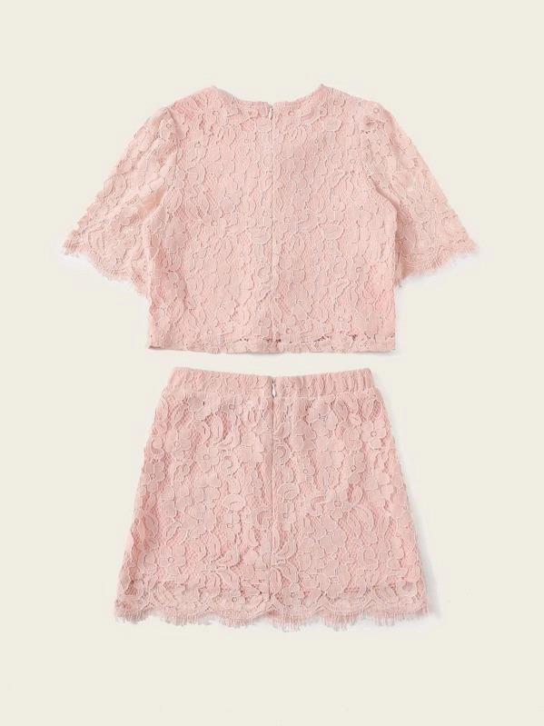 Girls Knot Bow Detail Scalloped Eyelash Lace Top & Skirt Set