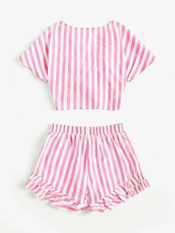 Girls Knot Front Top & Layered Hem Shorts Set