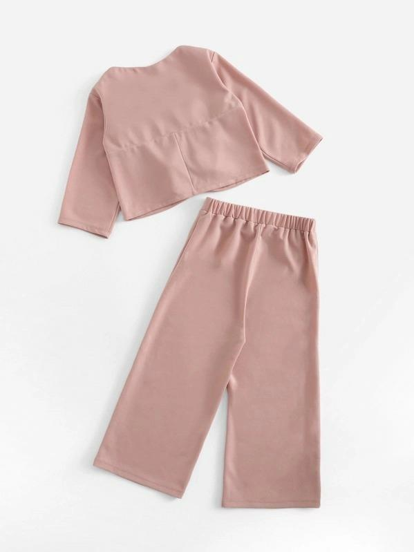 Girls Knot Front Top & Wide Leg Pants Set