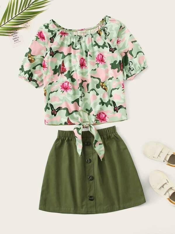 Girls Knot Hem Camo Top & Button Up Skirt Set