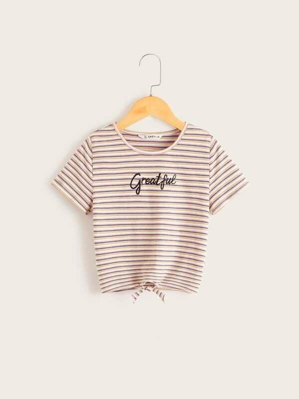 Girls Knot Hem Embroidery Letter Striped Top