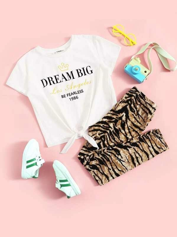Girls Knot Hem Tee & Tiger Print Leggings Set
