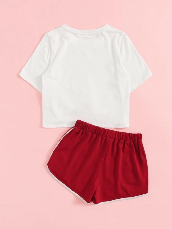 Girls Knotted Hem Tee & Dolphin Shorts Set
