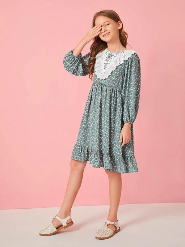 Girls Lace And Embroidered Eyelet Detail Ditsy Floral Dress