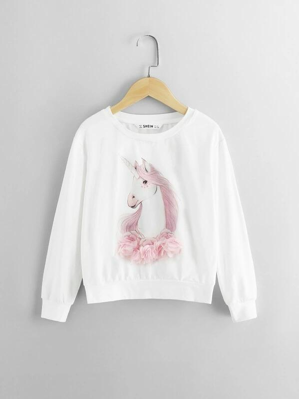 Girls Lace Appliques Animal Pullover