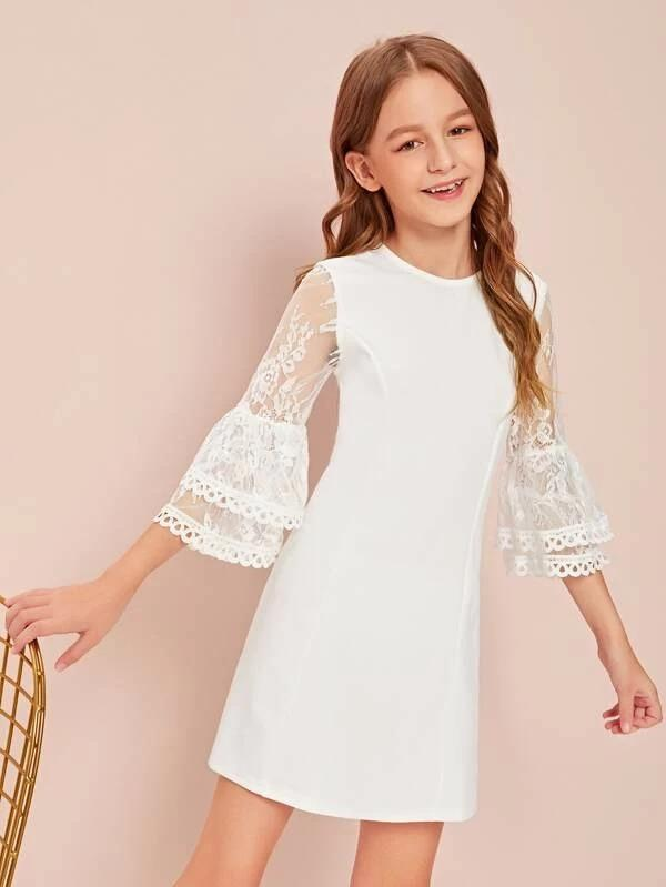 Girls Lace Bell Sleeve Dress