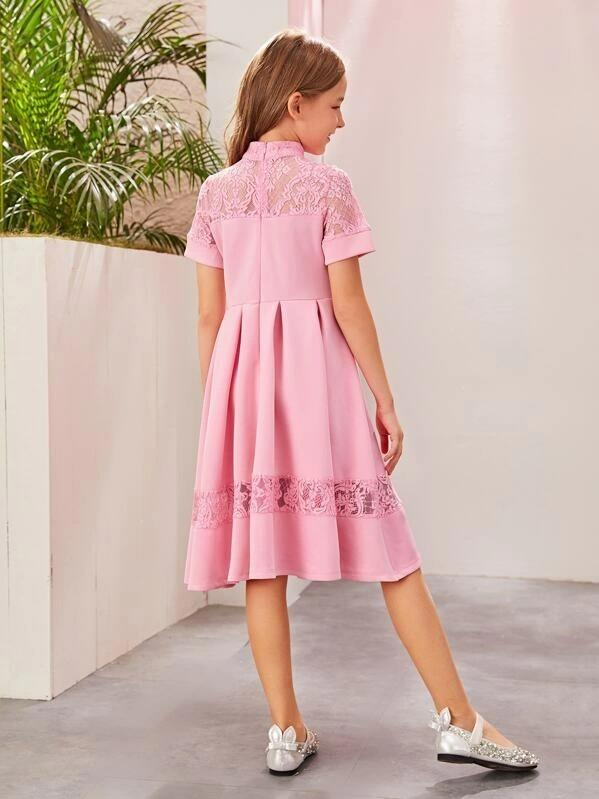 Girls Lace Insert Fit & Flare Dress