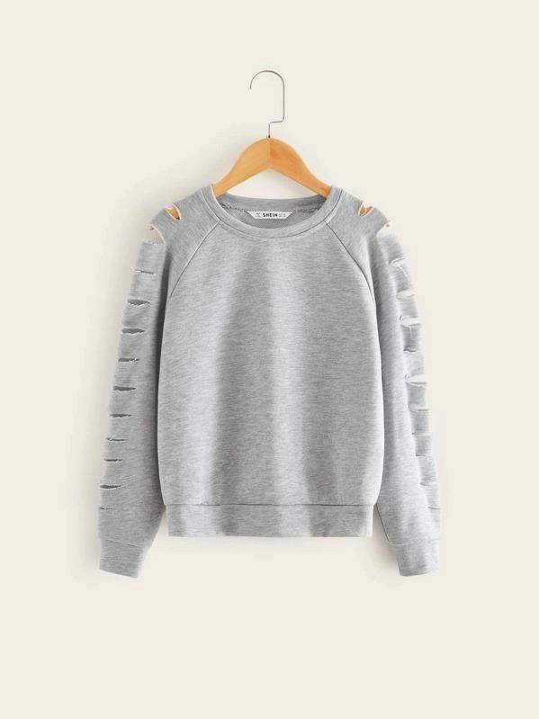Girls Laddering Ripped Detail Raglan Sleeve Sweatshirt