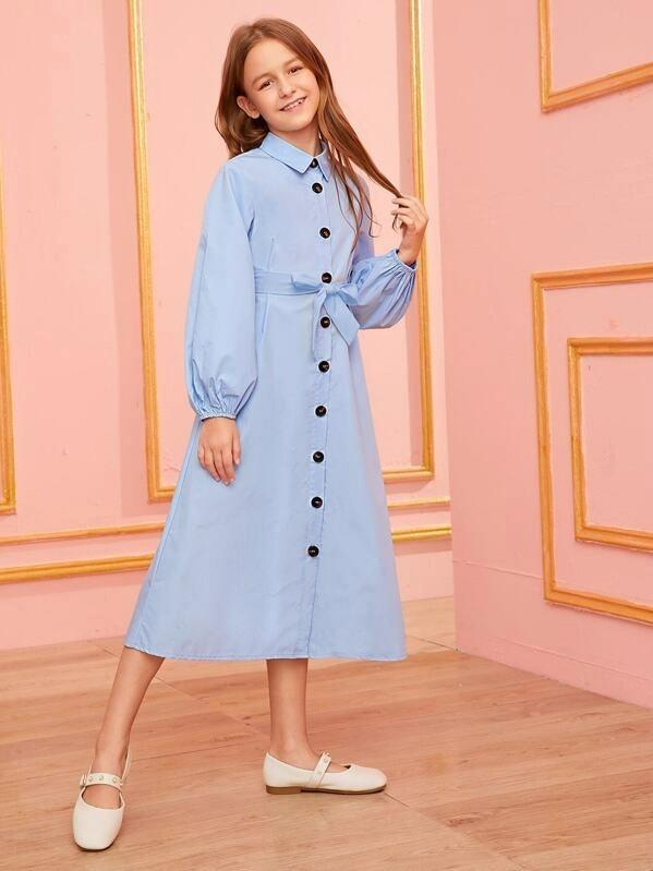 Girls Lantern Sleeve Belted Shirt Dress