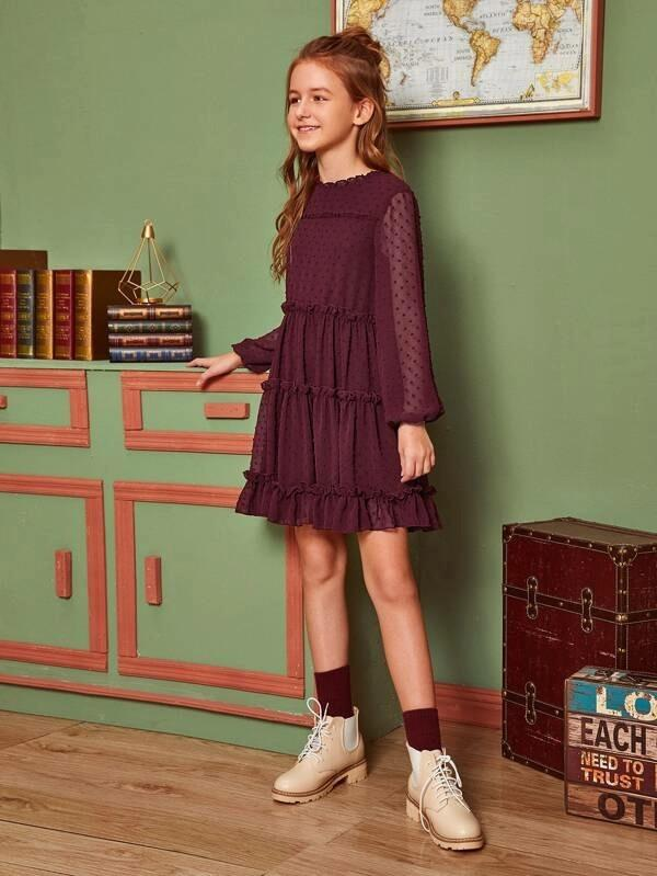 Girls Lantern Sleeve Frill Trim Swiss Dot Dress