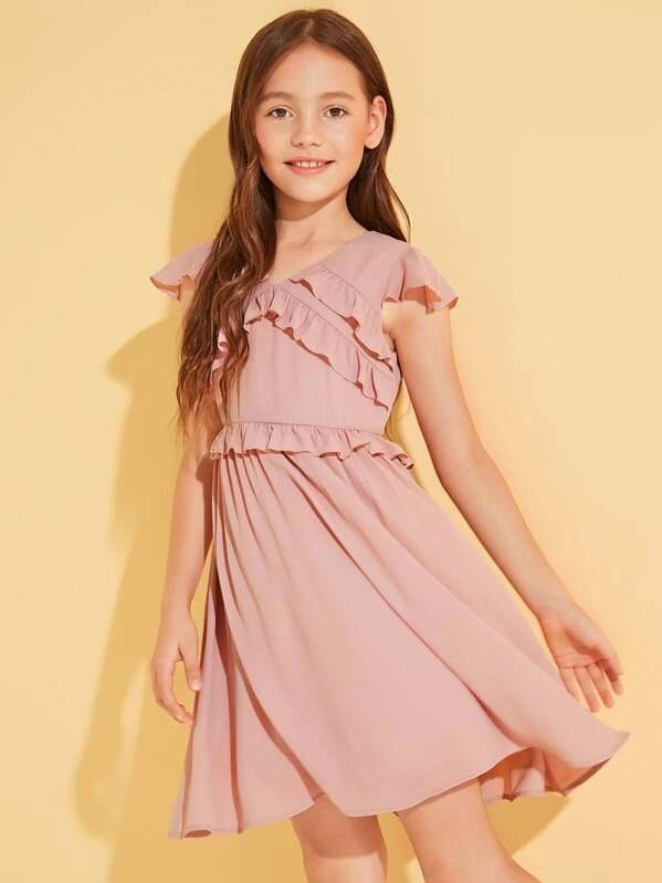 Girls Layered Ruffle Trim Flare Dress