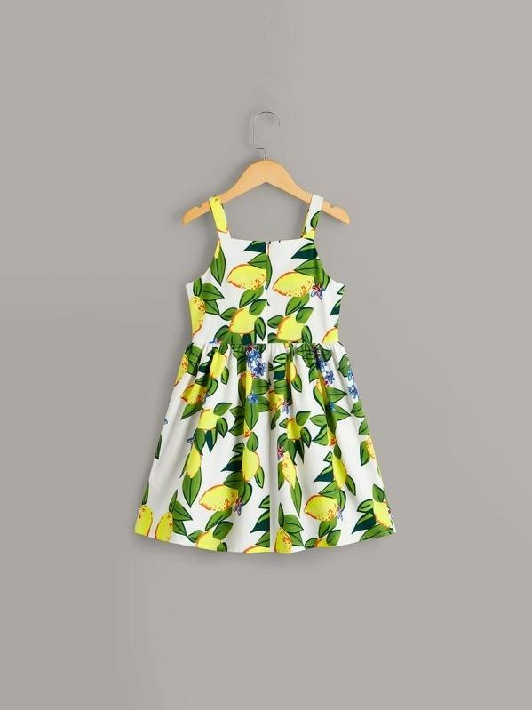 Girls Lemon Print Tie Front Button Detail Dress