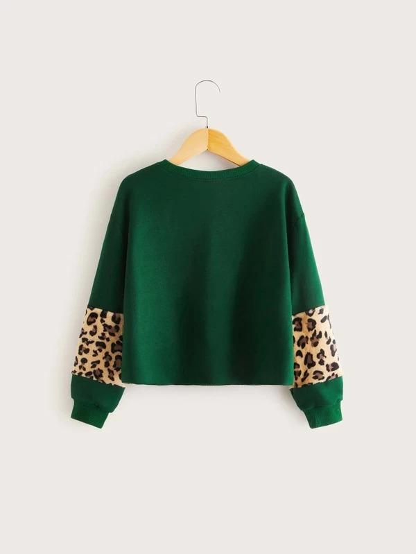 Girls Leopard Fleece Insert Pullover