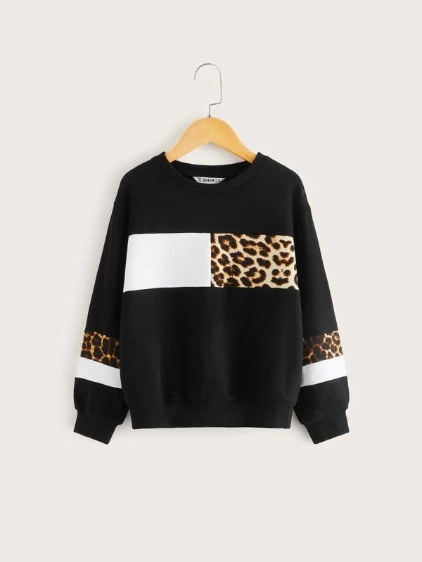 Girls Leopard Print Colorblock Pullover