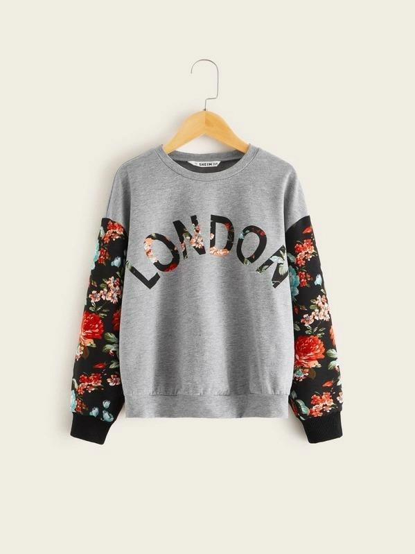 Girls Letter And Botanical Print Heather Grey Pullover