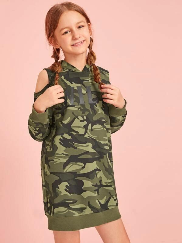 Girls Letter And Camo Print Cold Shoulder Sweatshirt Dress