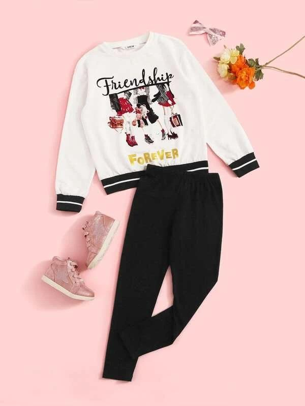 Girls Letter And Figure Graphic Pullover & Pants Set