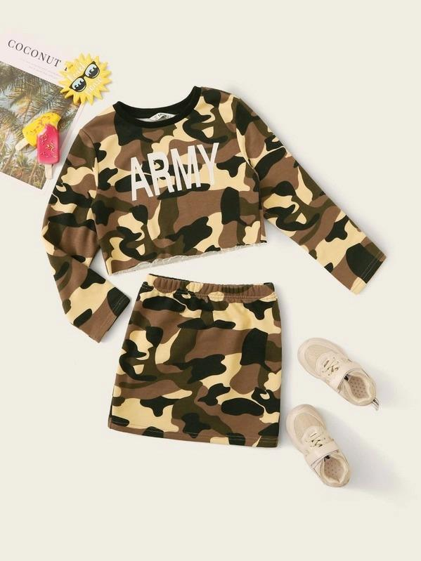Girls Letter & Camo Pullover & Skirt Set