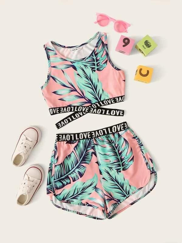 Girls Letter Cross Wrap Tape Tropical Top & Shorts Set