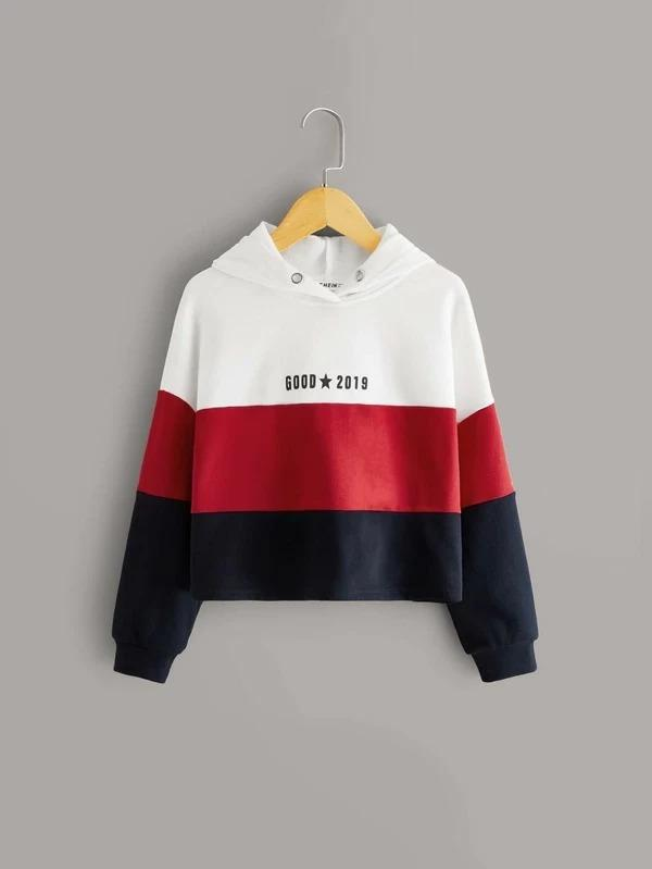 Girls Letter Graphic Colorblock Crop Hoodie