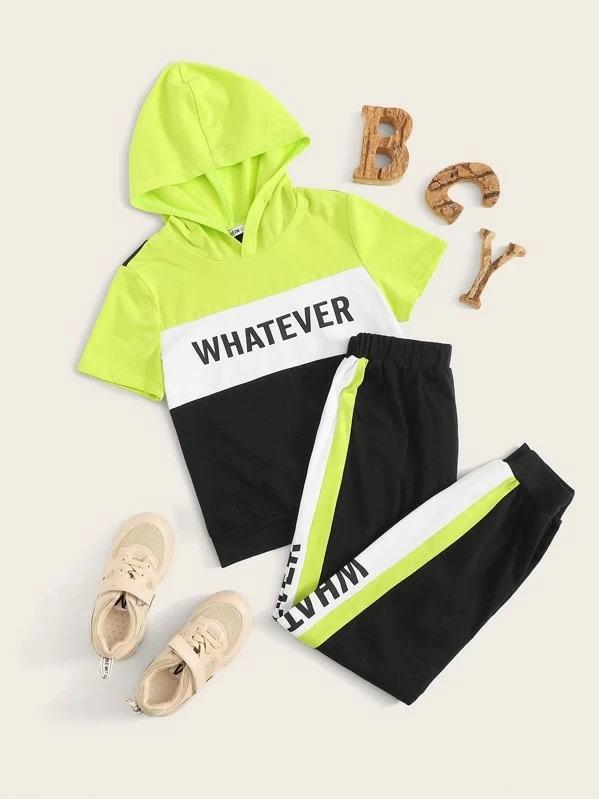 Girls Letter Graphic Colorblock Hoodie & Pants Set