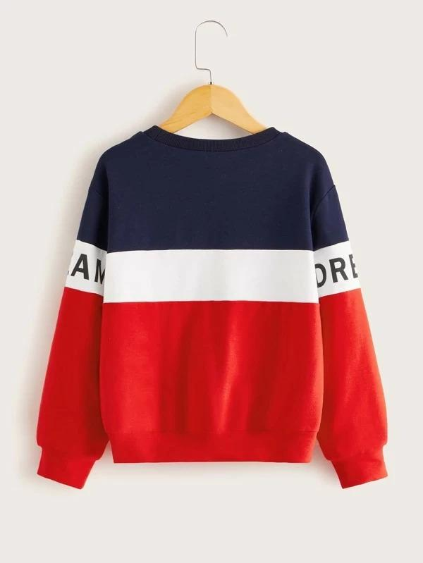 Girls Letter Graphic Colorblock Pullover