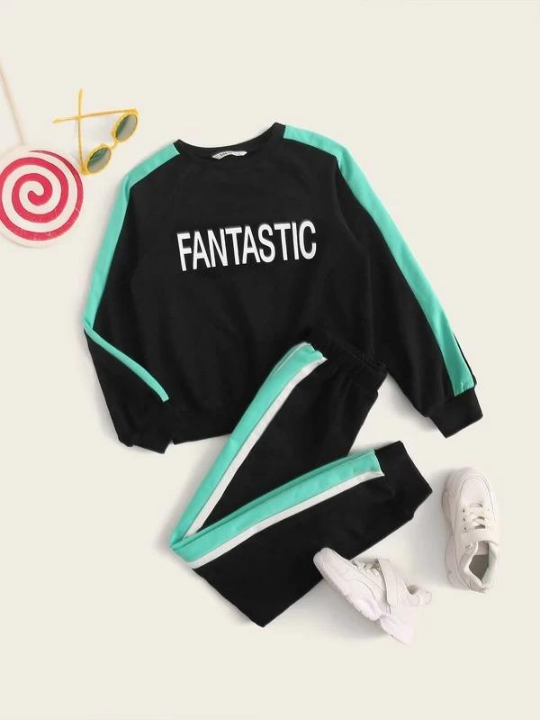Girls Letter Graphic Contrast Sideseam Pullover And Joggers Set