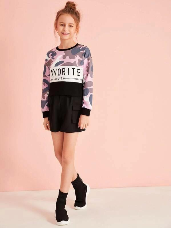 Girls Letter Graphic Cut-And-Sew Camo Panel Pullover
