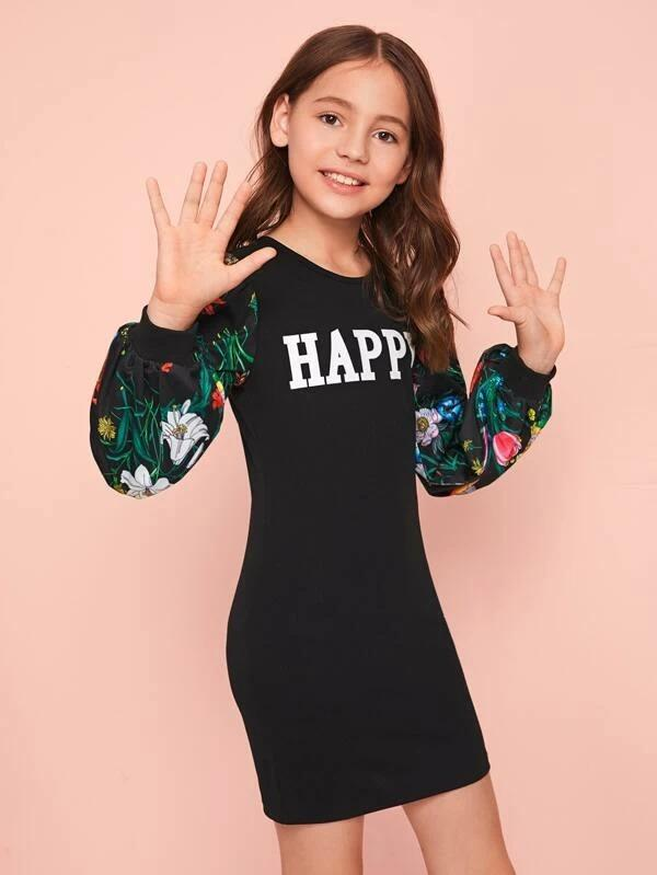 Girls Letter Graphic Floral Print Sleeve Dress