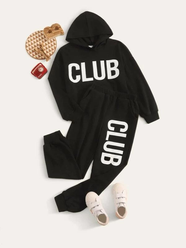 Girls Letter Graphic Hoodie And Sweatpants Set