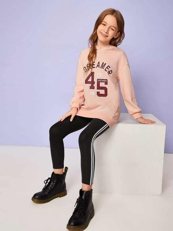 Girls Letter Graphic Hoodie & Side Stripe Leggings Set