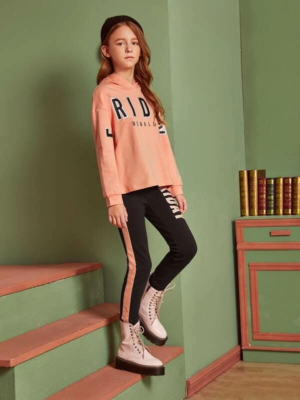 Girls Letter Graphic Hoodie & Sweatpants Set
