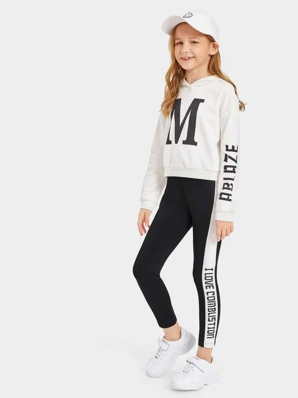 Girls Letter Graphic Hoodie & Two Tone Leggings Set