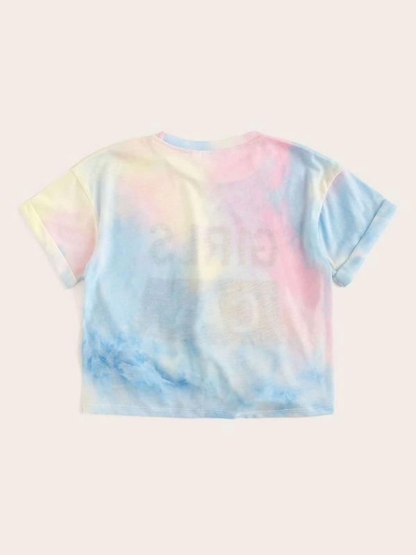 Girls Letter Graphic Knotted Front Tie Dye Tee