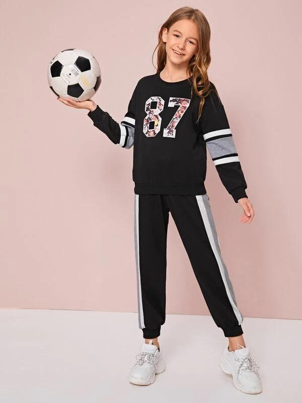 Girls Letter Graphic Pullover & Contrast Side Seam Joggers Set