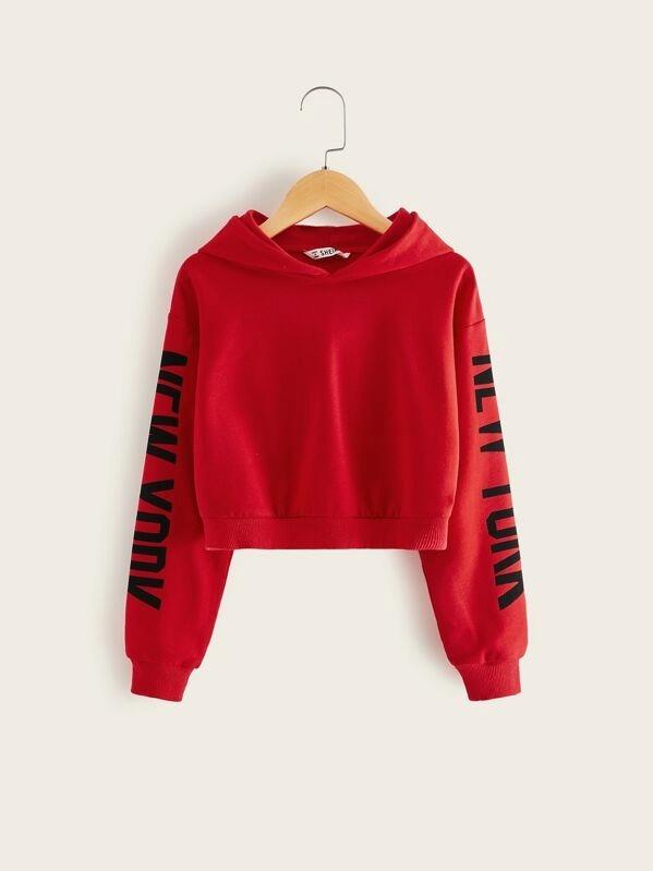 Girls Letter Graphic Sleeve Hoodie