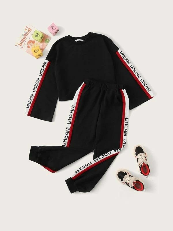 Girls Letter Graphic Striped Side Pullover & Joggers Set