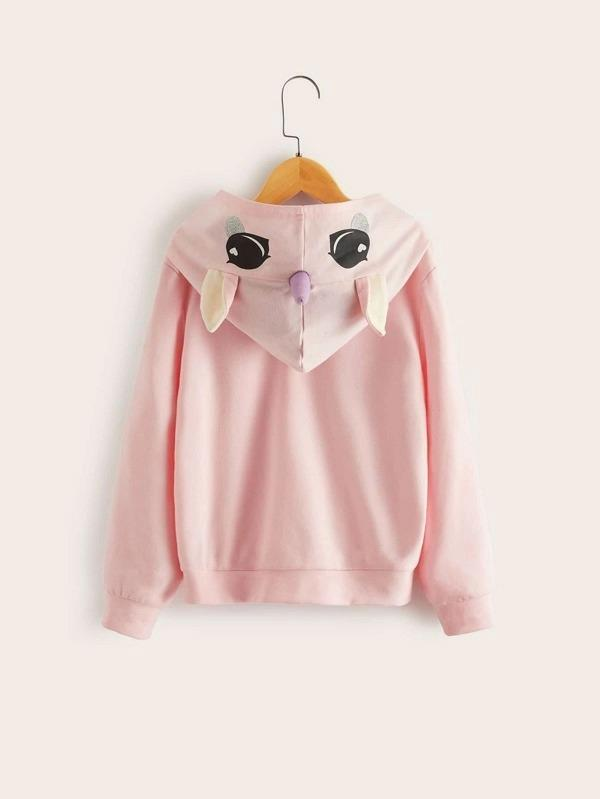 Girls Letter Graphic Sweatshirt With Unicorn Hood