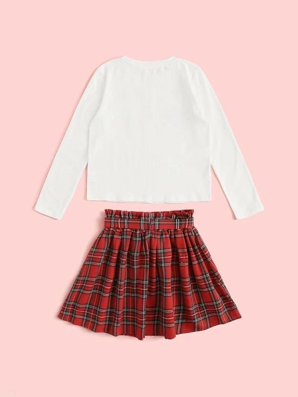 Girls Letter Graphic Tee And Belted Knot Tartan Skirt Set