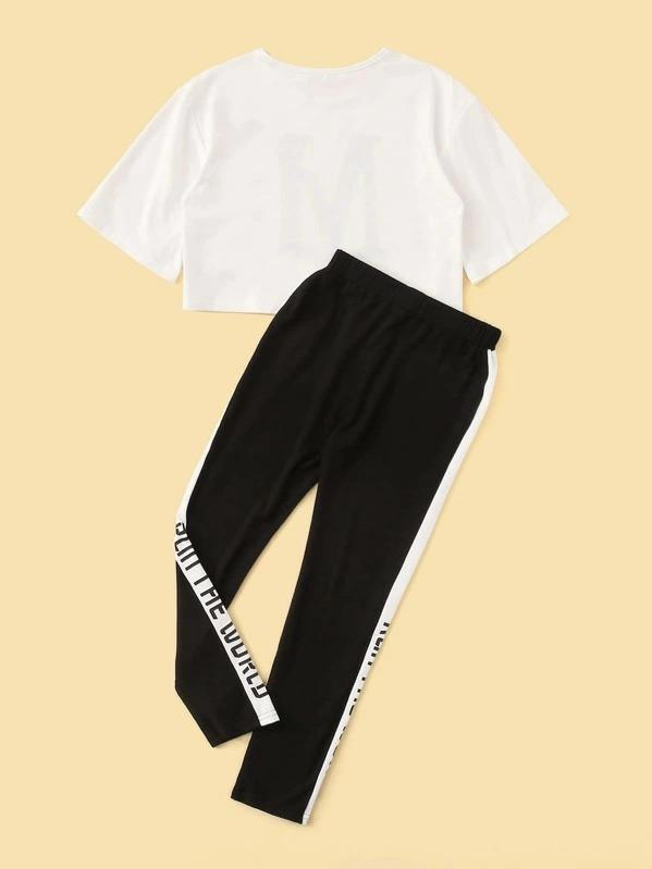 Girls Letter Graphic Top & Contrast Side Pants Set