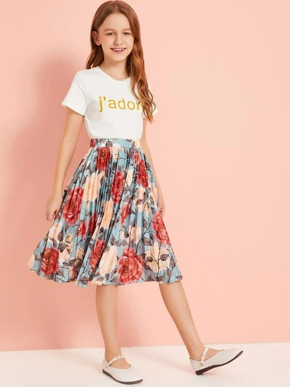 Girls Letter Graphic Top & Floral Print Pleated Skirt Set