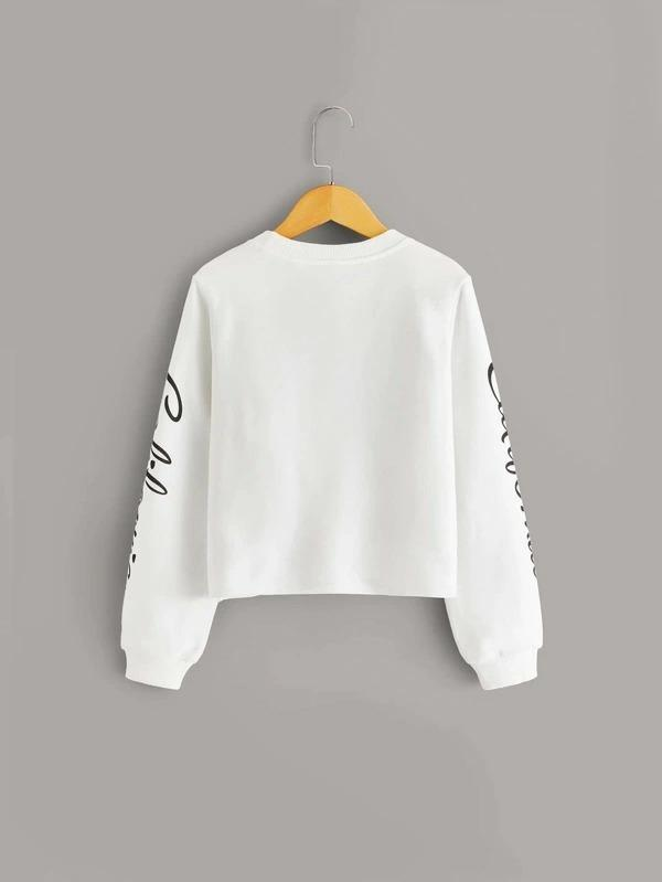 Girls Letter Graphic Twist Front Pullover