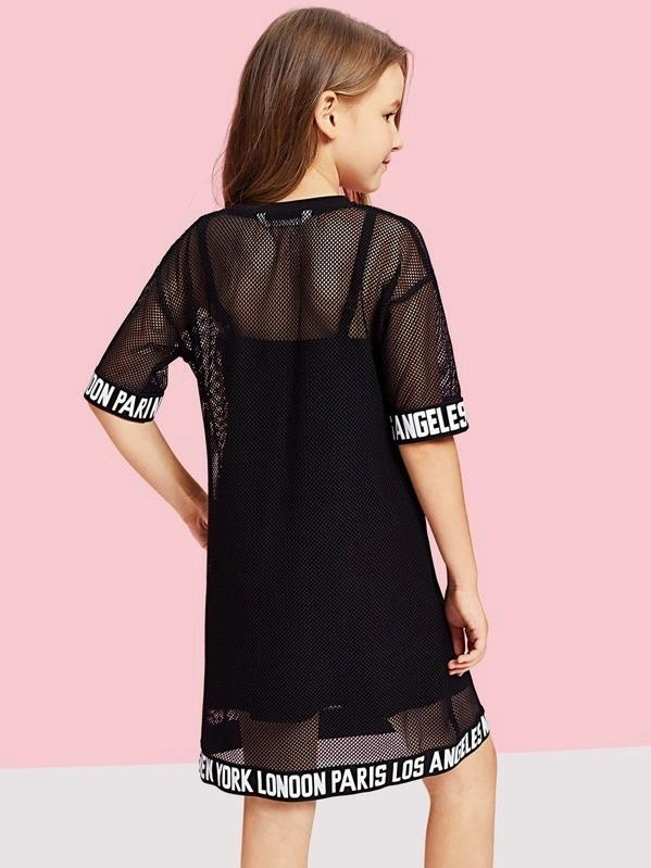 Girls Letter Hem Mesh Sheer Dress