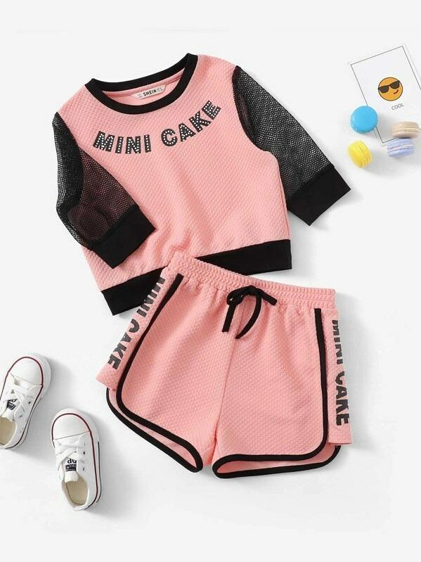 Girls Letter Print Eyelet Mesh Sleeve Waffle Top & Shorts Set