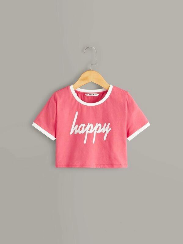 Girls Letter Print Ringer Crop Top