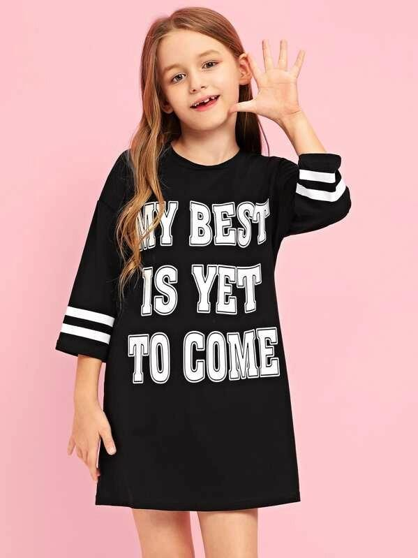 Girls Letter Print Striped Sleeve Dress