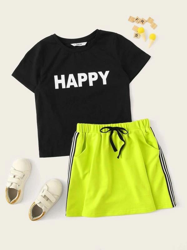 Girls Letter Print Tee & Neon Lime Striped Side Skirt Set