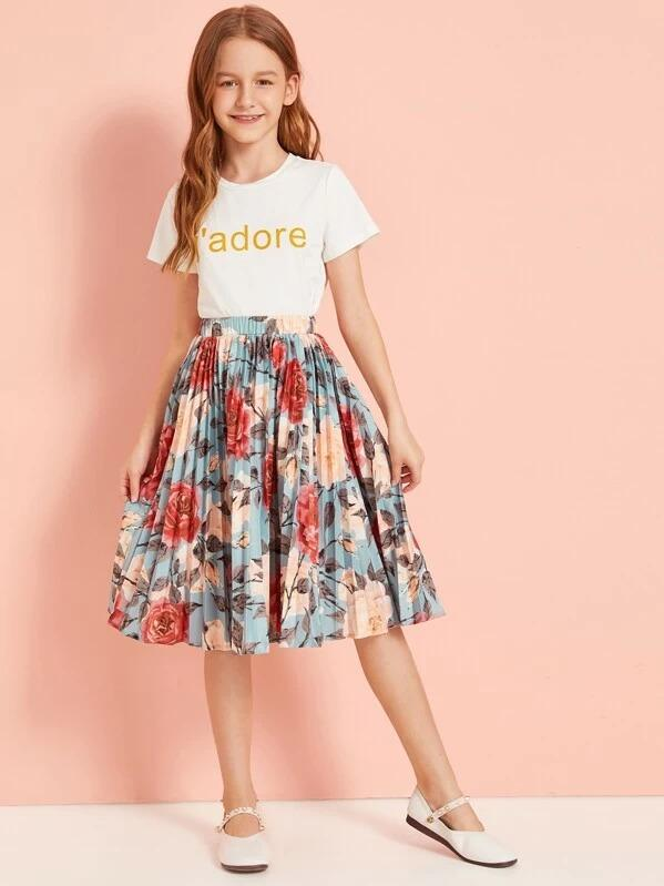 Girls Letter Print Top & Floral Print Pleated Skirt Set